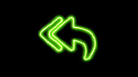 The appearance of the green neon symbol reply all. Flicker, In - Out. Alpha Animation