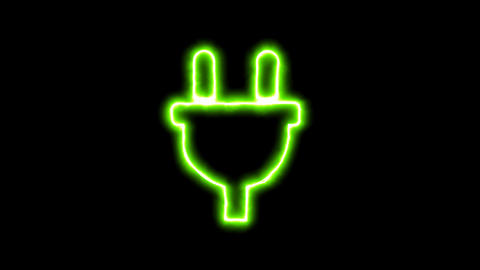 The appearance of the green neon symbol plug. Flicker, In - Out. Alpha channel Animation