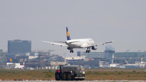 Lufthansa Airbus A321 landing Live Action