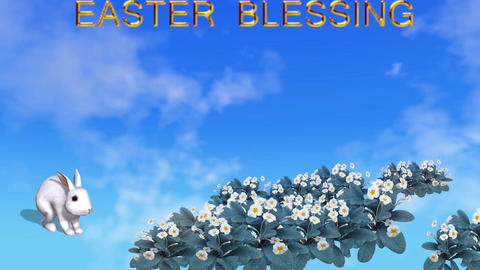 Easter card with rabbit spring flowers and easter blessing text Animation