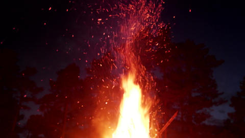 tipi fire. Element of fire, huge night fire on holiday Live Action