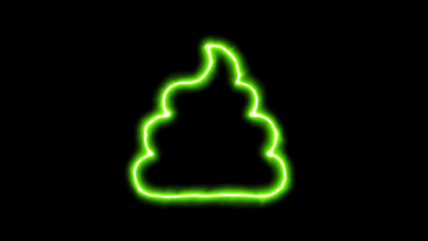 The appearance of the green neon symbol poop. Flicker, In - Out. Alpha channel Animation