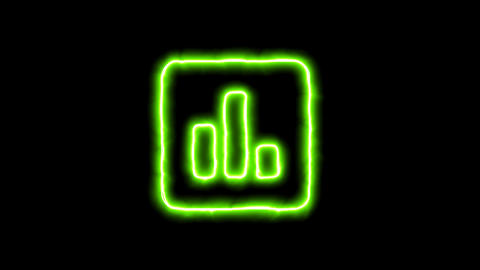 The appearance of the green neon symbol poll. Flicker, In - Out. Alpha channel Animation