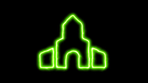 The appearance of the green neon symbol place of worship. Flicker, In - Out. Animation
