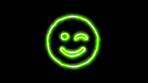 The appearance of the green neon symbol smile wink. Flicker, In - Out. Alpha Animation