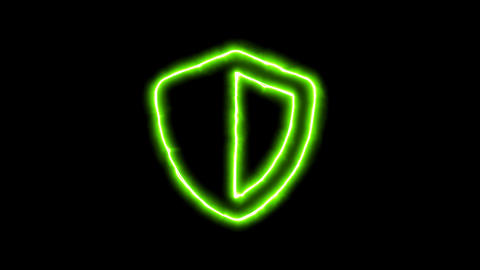 The appearance of the green neon symbol shield. Flicker, In - Out. Alpha channel Animation