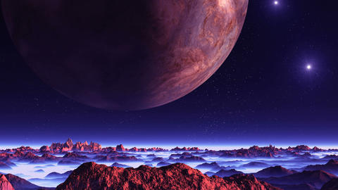 Two Moons and the Sun over Alien Planet Animation