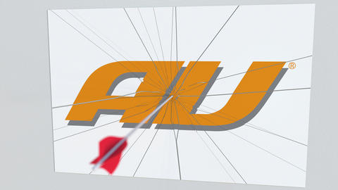 AU company logo being cracked by archery arrow. Corporate problems conceptual Footage