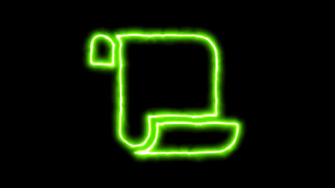 The appearance of the green neon symbol scroll. Flicker, In - Out. Alpha channel Animation