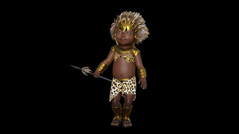3d model child of the African tribe ,Transparent background Live Action