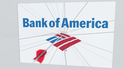 BANK OF AMERICA company logo being cracked by archery arrow. Corporate problems Footage