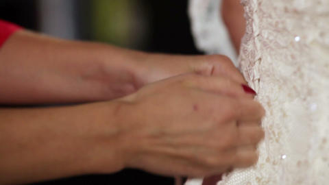 Lacing wedding dress Stock Video Footage