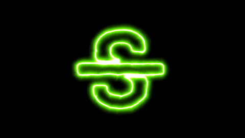 The appearance of the green neon symbol strikethrough. Flicker, In - Out. Alpha Animation