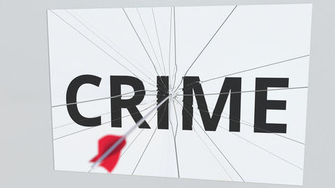 Archery arrow breaks plate with CRIME text, conceptual 3D animation Footage