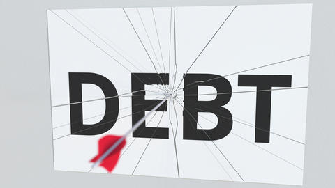 Archery arrow breaks plate with DEBT text, conceptual 3D animation Footage