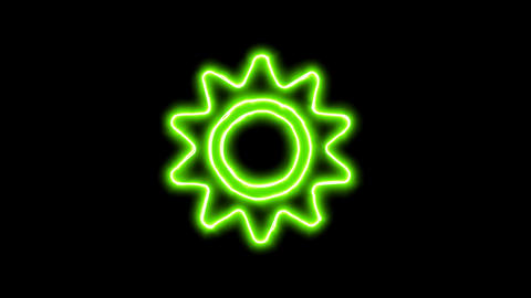 The appearance of the green neon symbol sun. Flicker, In - Out. Alpha channel Animation