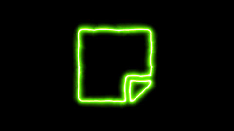The appearance of the green neon symbol sticky note. Flicker, In - Out. Alpha Animation