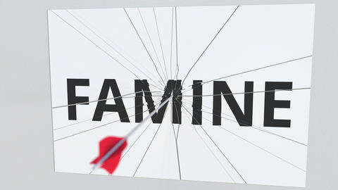 Archery arrow breaks plate with FAMINE text, conceptual 3D animation Live Action