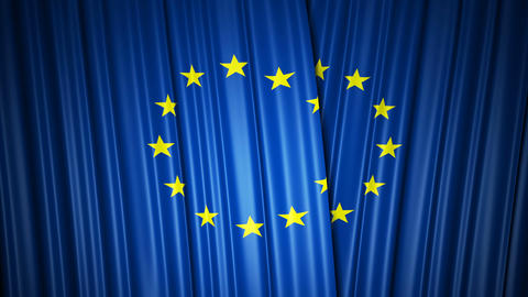 EU flag. 3d animation of opening and closing curtains with flag. 4k Live Action