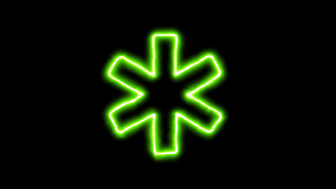 The appearance of the green neon symbol star of life. Flicker, In - Out. Alpha Animation