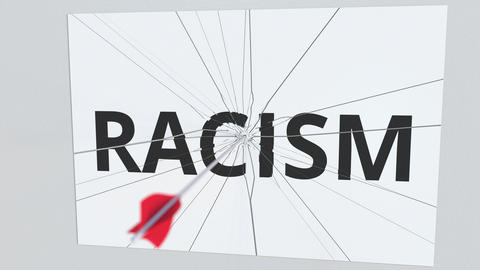 Archery arrow hits glass plate with RACISM text. Conceptual 3D animation Live Action
