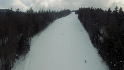 Nature, landscape. Tourists and riders on pistes of alpine ski resort. Borovets Footage