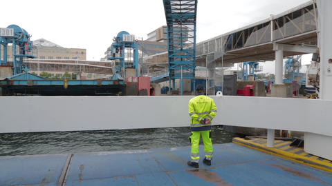 Ferry arrives at the port to Scandinavia Footage