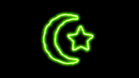 The appearance of the green neon symbol star and crescent. Flicker, In - Out. Animation
