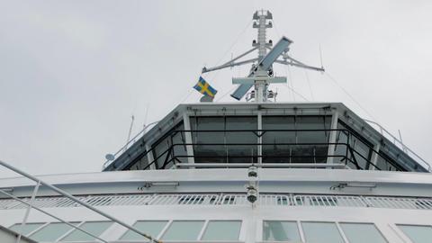 Rotation of radar on upper deck of warship ビデオ