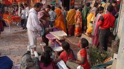 People Giving Rice Alms,Varanasi,India stock footage
