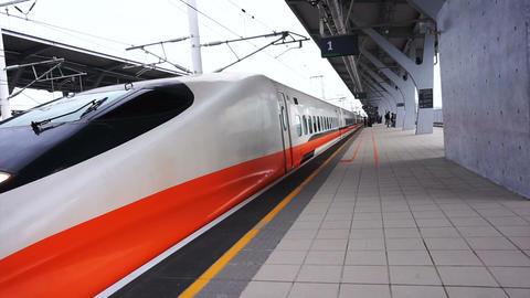 Taiwan High Speed Rail Station architecture. Modern HSR transportation Footage