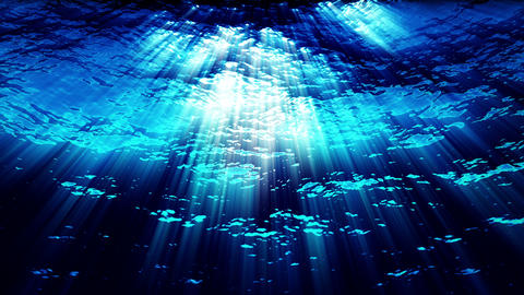 Underwater ocean waves with light rays - Water FX0324 HD, 4K Animation