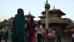 Durbar Square with people walking, low angle,Kathmandu,Nepal Footage