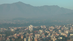 City and mountains as seen from Swayambhunath hill,Kathmandu,Nepal Footage