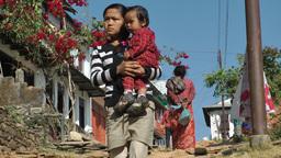 People walking village,Bandipur,Nepal Footage