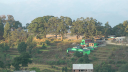 Zoom out from parade grounds from Gurungche hill ,Bandipur,Nepal Footage