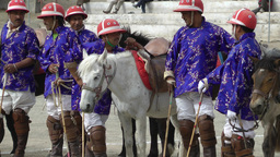 Blue polo jockeys before the match,Leh,India Footage