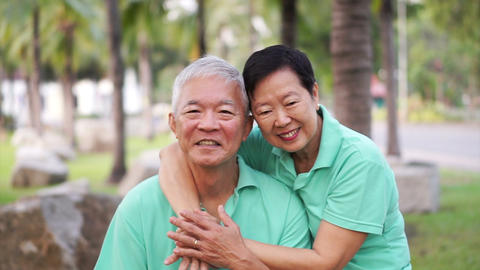 Asian senior couple stay together in nature. Talking and touching with love Footage