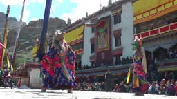 Hemis Festival 2013 Dancers low angle,Hemis,India Footage