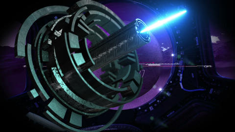 Close Up Of Rotating Hi Tech Gear with laser beam Stock Video Footage