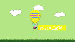 Animation of egg shaped balloon towing a banner with the message Happy Easter Animation