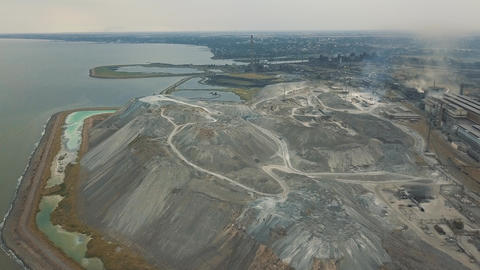 Aerial view. Slag storage on the coast. A place for the storage of the slag Live Action