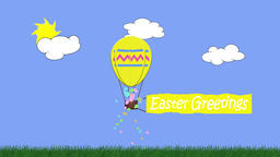 Animation of egg shaped balloon towing a banner with the message Easter Animation