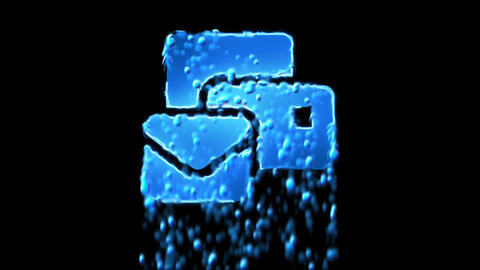 Liquid symbol mail bulk appears with water droplets. Then dissolves with drops Animation