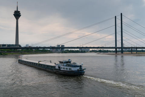 Inland navigation vessel, Rhine, Germany フォト