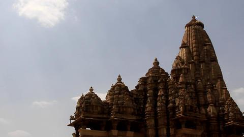 Hindu Temples of Love in Kajuraho. Retro color photo Live Action