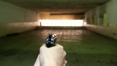 The gun in the first person in the dash Footage