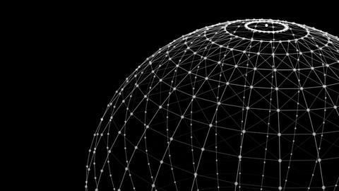 Wire structure of sphere. Digital computer data and network connection lines and Live Action