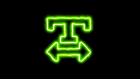 The appearance of the green neon symbol text width. Flicker, In - Out. Alpha Animation