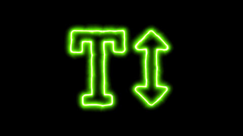 The appearance of the green neon symbol text height. Flicker, In - Out. Alpha Animation